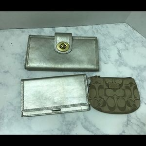 Coach Silver Leather  Wallet Checkbook Coin Purse